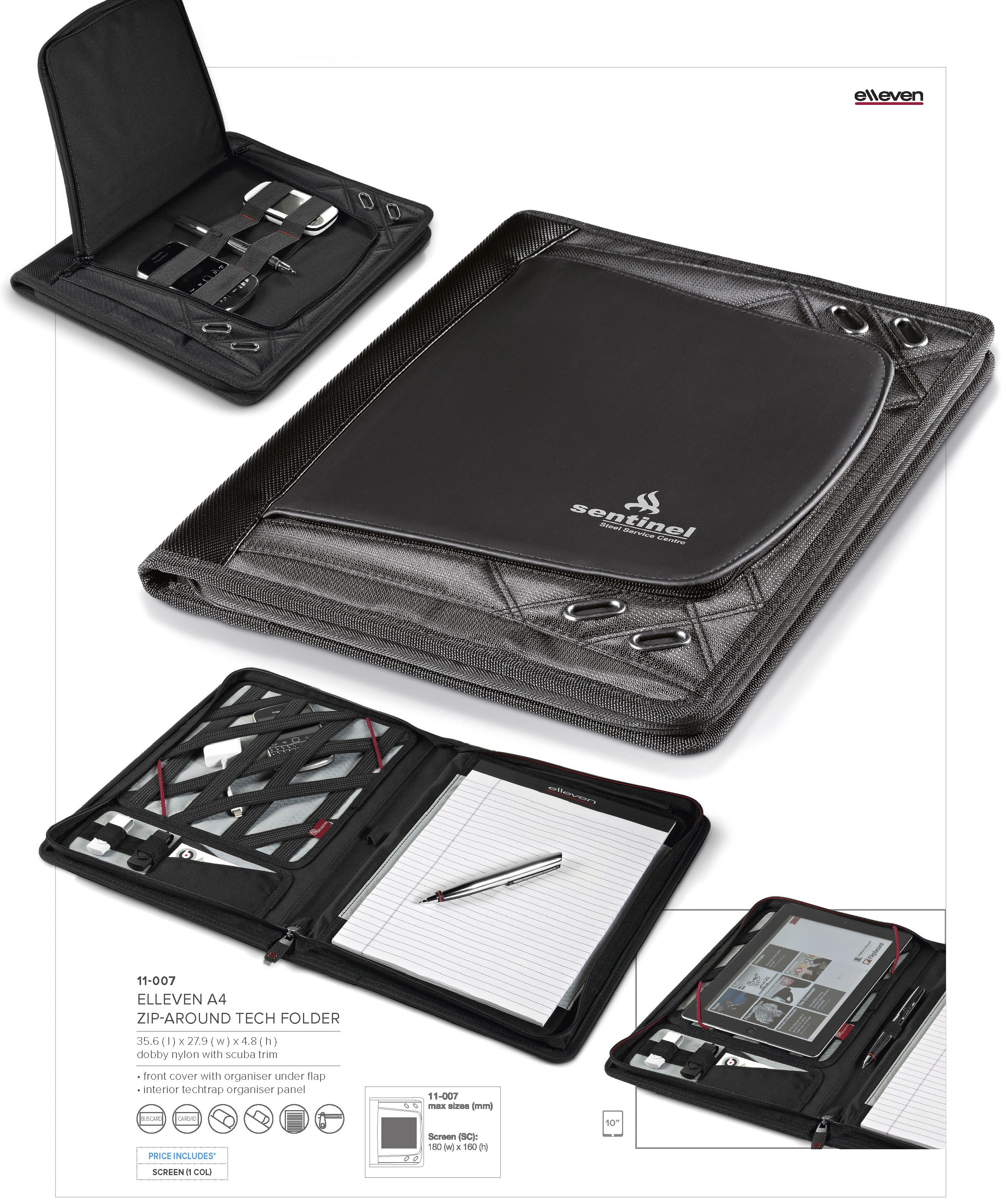 elleven a4 zip around tablet folder