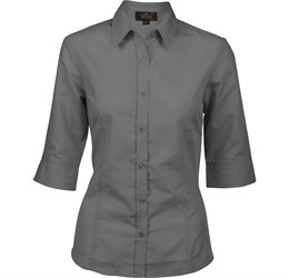 Ladies 3/4 Sleeve Apollo Shirt  Charcoal Only