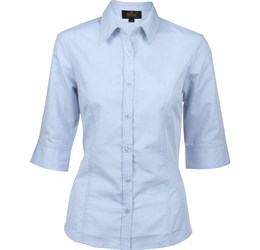 Ladies 3/4 Sleeve Apollo Shirt  Light Blue Only