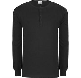 Mens Long Sleeve Henley TShirt  Black Only