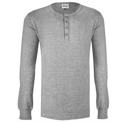 Mens Long Sleeve Henley TShirt  Grey Only
