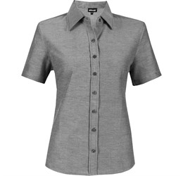 Ladies Short Sleeve Oxford Shirt  Charcoal Only
