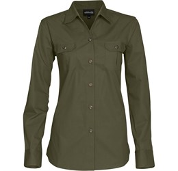 Ladies Long Sleeve Oryx Bush Shirt  Military Green Only