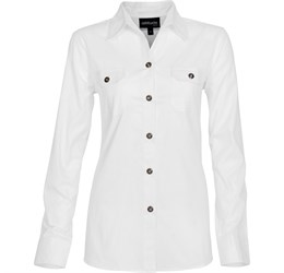 Ladies Long Sleeve Oryx Bush Shirt White Only