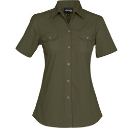 Ladies Short Sleeve Oryx Bush Shirt  Military Green Only