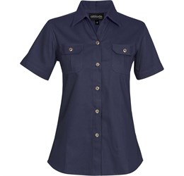 Ladies Short Sleeve Oryx Bush Shirt  Navy Only