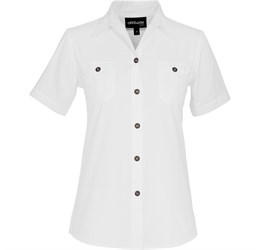 Ladies Short Sleeve Oryx Bush Shirt White Only