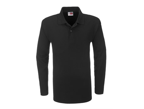 US Basic Mens Long Sleeve Boston Golf Shirt in Black Code BAS-3430