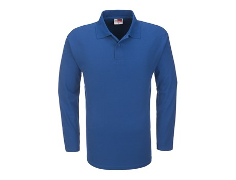 US Basic Mens Long Sleeve Boston Golf Shirt in Blue Code BAS-3430