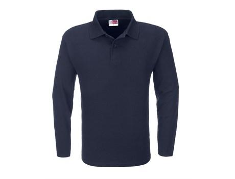 US Basic Mens Long Sleeve Boston Golf Shirt in navy Code BAS-3430