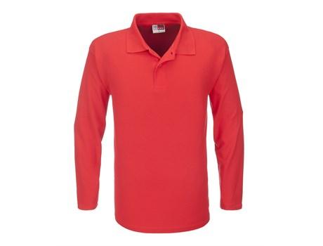 US Basic Mens Long Sleeve Boston Golf Shirt in Red Code BAS-3430