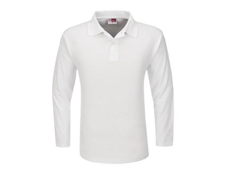 US Basic Mens Long Sleeve Boston Golf Shirt in White Code BAS-3430