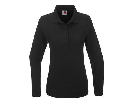 US Basic Ladies Long Sleeve Boston Golf Shirt in Black Code BAS-3431