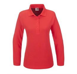 Golfers - Ladies Long Sleeve Boston Golf Shirt  Red Only
