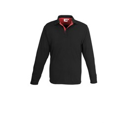 Golfers - Mens Long Sleeve Solo Golf Shirt  Red Only