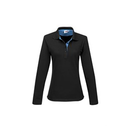 Ladies Long Sleeve Solo Golf Shirt  Aqua Only