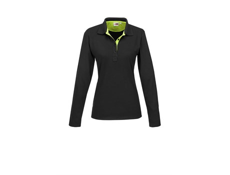 US Basic Ladies Long Sleeve Solo Golf Shirt in Lime Code BAS-7779