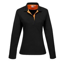 Ladies Long Sleeve Solo Golf Shirt  Orange Only