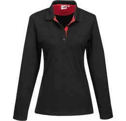 Golfers - Ladies Long Sleeve Solo Golf Shirt  Red Only