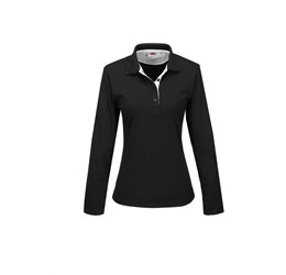 Ladies Long Sleeve Solo Golf Shirt White Only