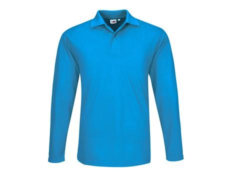 US Basic Mens Long Sleeve Elemental Golf Shirt in aqua Code BAS-8030