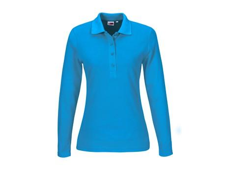 US Basic Ladies Long Sleeve Elemental Golf Shirt in Aqua Code BAS-8031