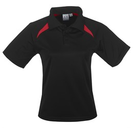 Kids Splice Golf Shirt  Black Red Only