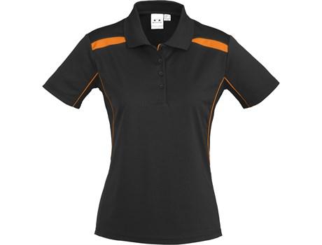 Biz Collection Ladies United Golf Shirt in black with orange Code BIZ-3642