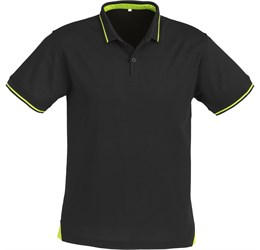 Golfers - Mens Jet Golf Shirt  Black with Lime Only
