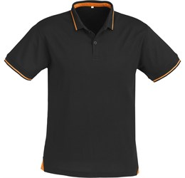 Golfers - Mens Jet Golf Shirt  Black with Orange Only