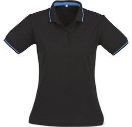Golfers - Ladies Jet Golf Shirt  Black with Cyan Only