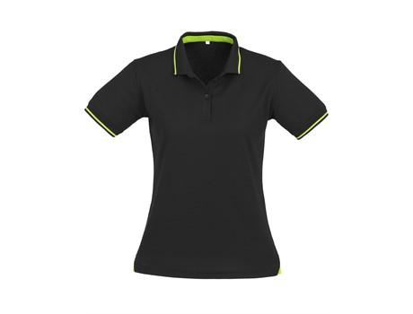 Biz Collection Ladies Jet Golf Shirt in black with lime Code BIZ-4851