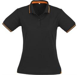 Golfers - Ladies Jet Golf Shirt  Black with Orange Only