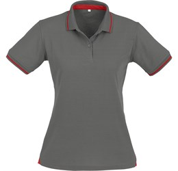 Golfers - Ladies Jet Golf Shirt  Grey with Red Only