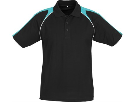 Biz Collection Mens Triton Golf Shirt in Black With Turquoise Code BIZ-4852