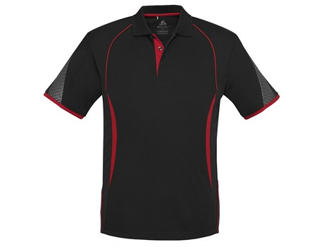 Biz Collection Mens Razor Golf Shirt in Black With Red Code BIZ-7106