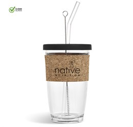 Kooshty Kork Glass Smoothie Kup and Straw  480ml