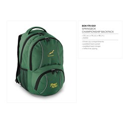 Springbok Championship Backpack  Sample