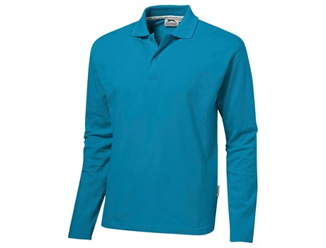Slazenger Mens Long Sleeve Zenith Golf Shirt in aqua Code SLAZ-3200