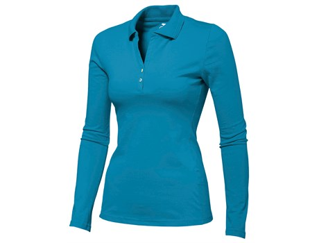Slazenger Zenith Ladies Long Sleeve Golf Shirt in Aqua Code SLAZ-3201